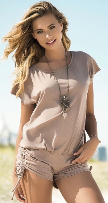 Adorable Taupe Romper with Side Ties