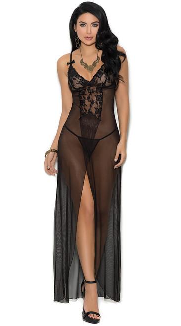 Elegant Black Mesh Long Night Gown Set