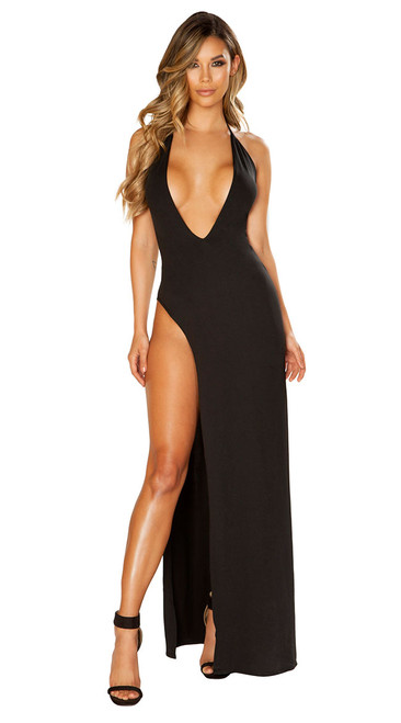 Deep V-Neckline Black Dress with High Slit