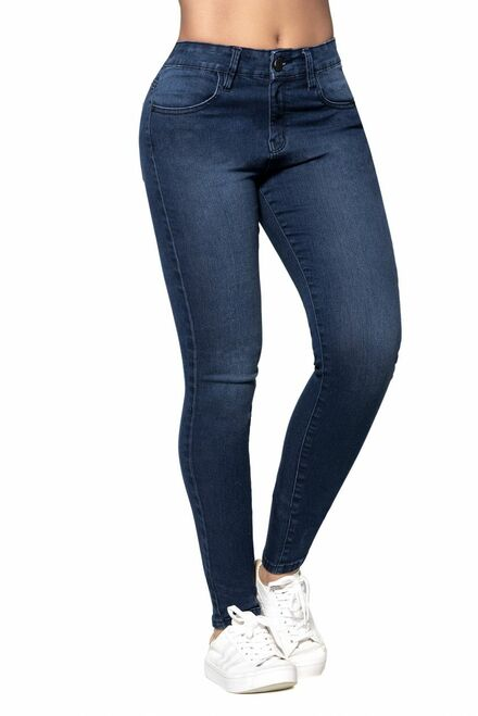 Butt Lifting Blue Jeans with Body Shaper