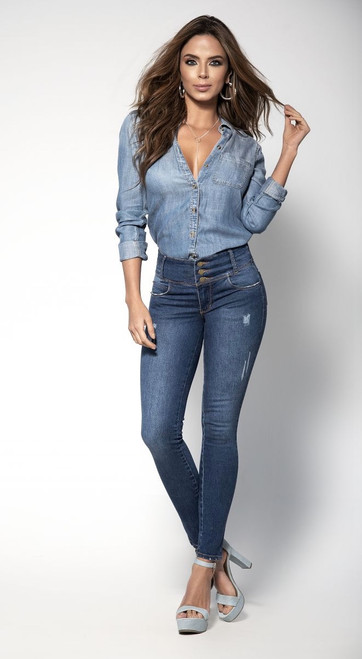 Blue Jeans with Girdle Lining