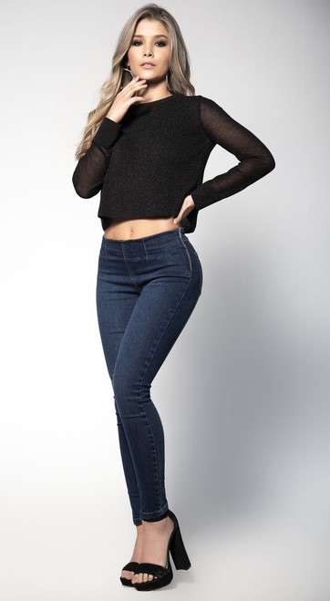 Blue Jeans with Side Zipper