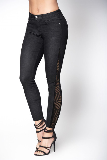 Butt Lifting Black Jeans with Mesh Detail