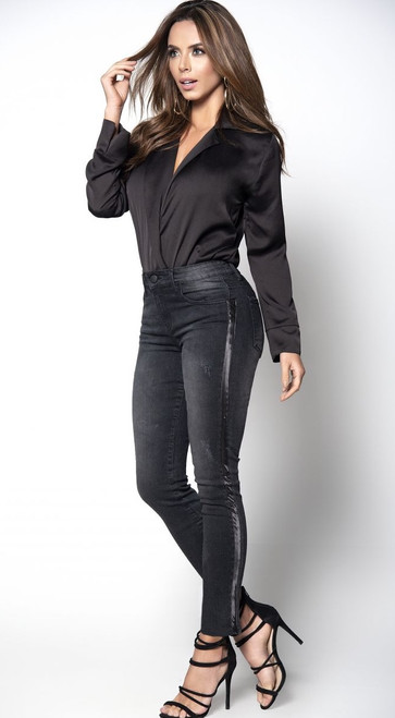Black Jeans with Side Satin Strip