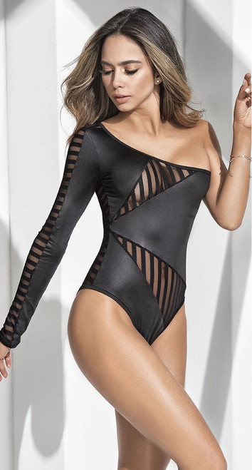Black One Shoulder Wet Look Bodysuit