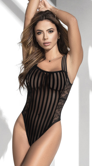 Black Sheer Stripes and Lace Bodysuit