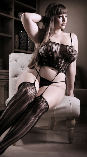 Plus Size Black Magic Cami Top with Attached Stockings