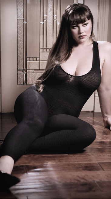 Plus Size Black to Reality Opaque Textured Bodystocking