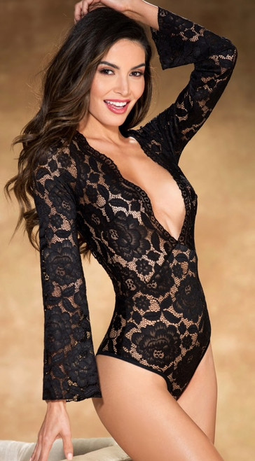Gorgeous Stretch Black Lace Bodysuit