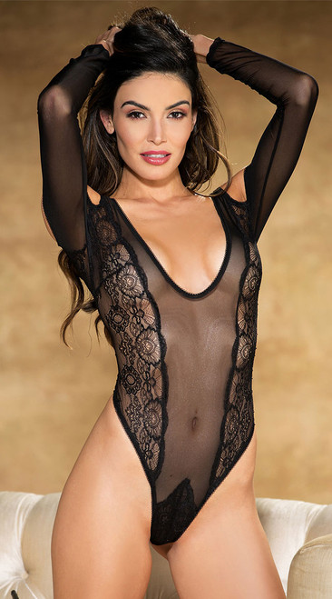 Vintage Black Lace Long Sleeve Teddy