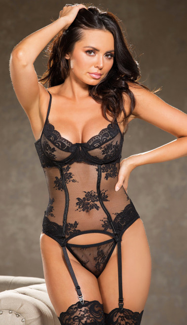 Allover Black Lace Bustier Set
