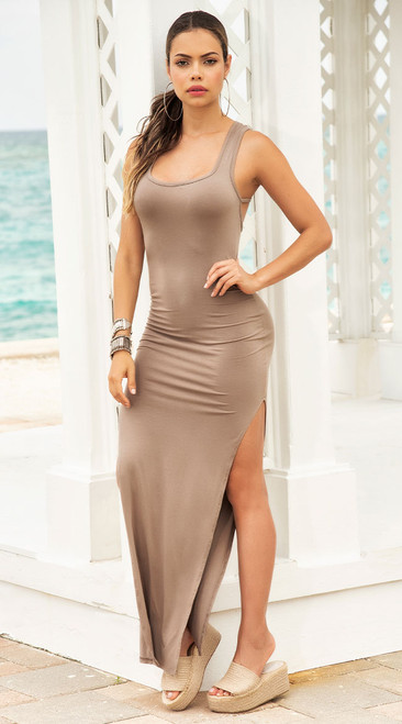 Taupe Fitted Maxi Dress