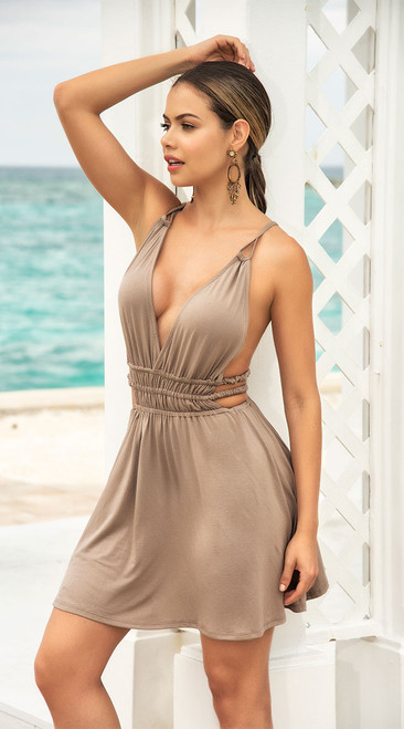 Adorable Strappy Taupe Sundress