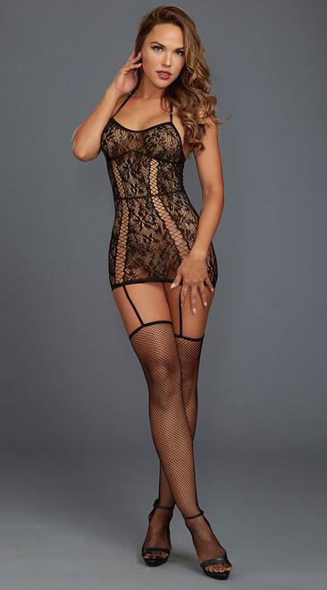 Lovely Black Lace Garter Dress
