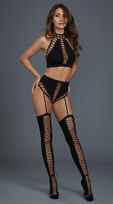 Black Bralette and Garter Panty Set