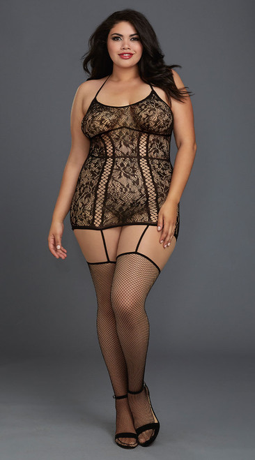 Plus Size Lovely Black Lace Garter Dress