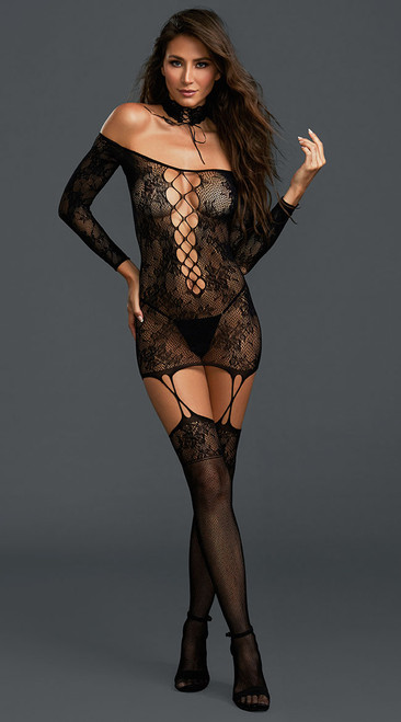 Sexy Versatile Black Lace Garter Dress