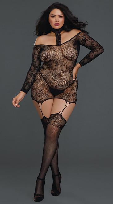 Plus Size Versatile Black Lace Garter Dress