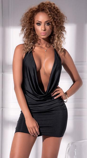 Sexy Black Drape Front Dress