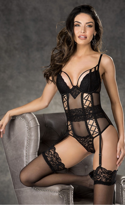 Gorgeous Lace and Mesh Garter Teddy