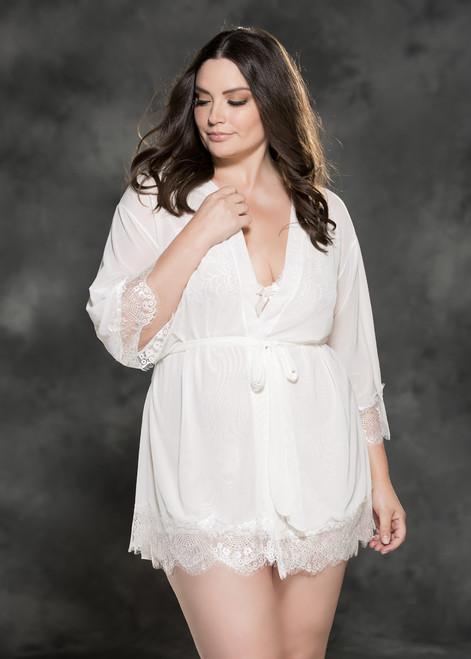 Plus Size White Mesh and Lace Peignoir Set