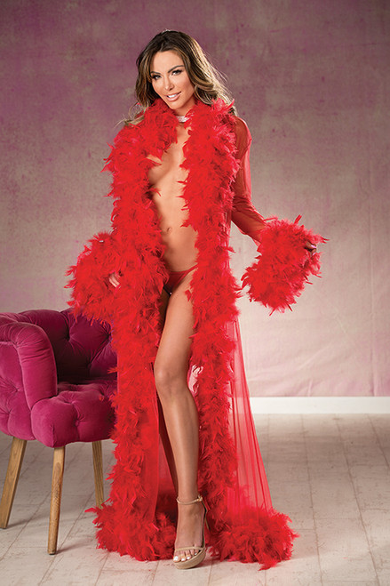 Red Sheer Nylon Chandelle Feather Robe