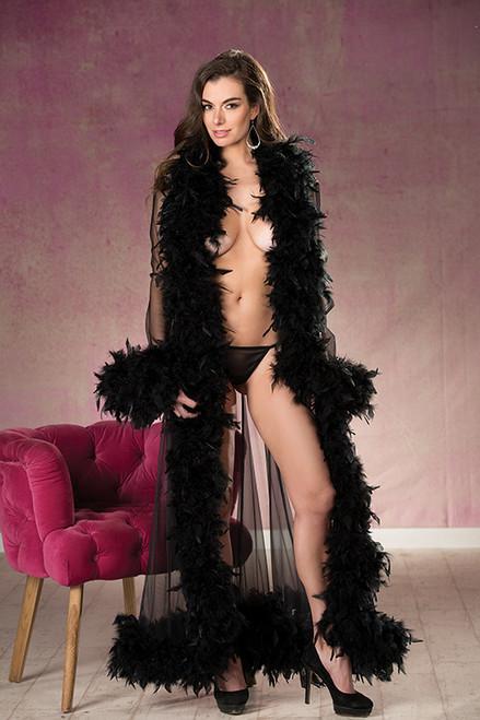 Black Sheer Nylon Chandelle Feather Robe