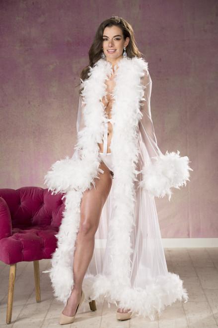 White Sheer Nylon Chandelle Feather Robe