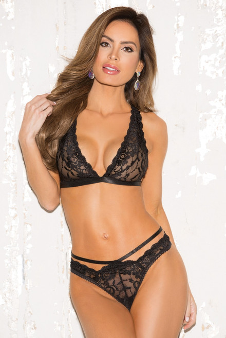 Black Lace Bralette and Thong Panty