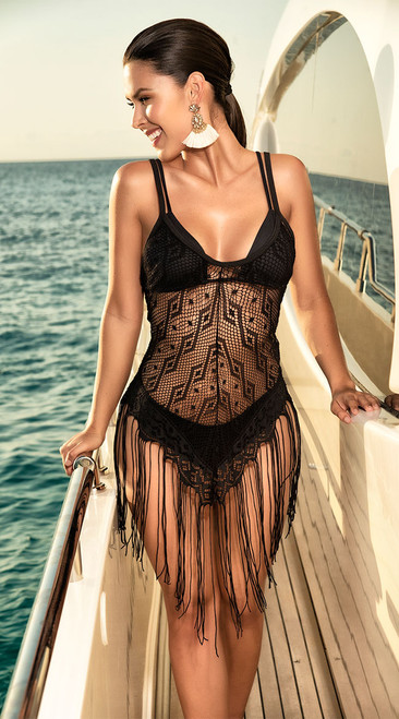 Beautiful Black Fringe and Crochet Cover Up Dress