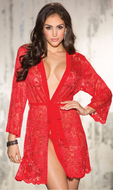 Beautiful Stretch Red Lace Long Sleeve Robe
