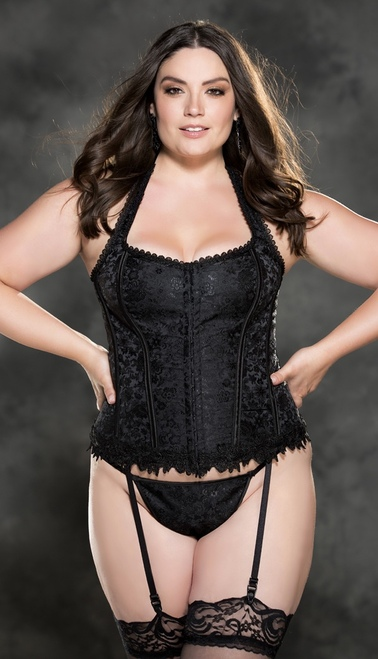 Plus Size Gorgeous Black Tapestry Corset Set