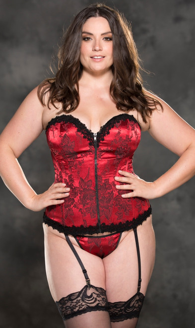 Plus Size Beautiful Red Tapestry and Venice Trim Corset
