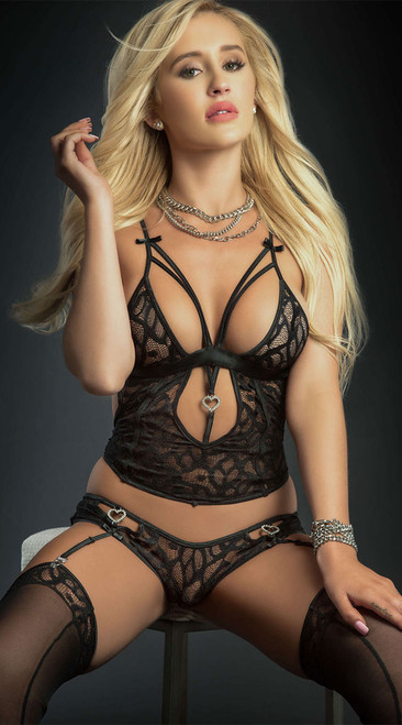Black Lace Cami Top and Panty Set