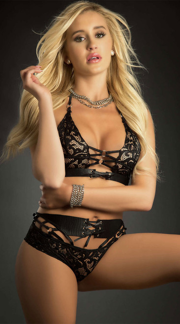 Strappy Black Lace Bralette and Panty Set
