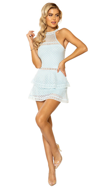 Baby Blue Lace Panel Tiered Dress