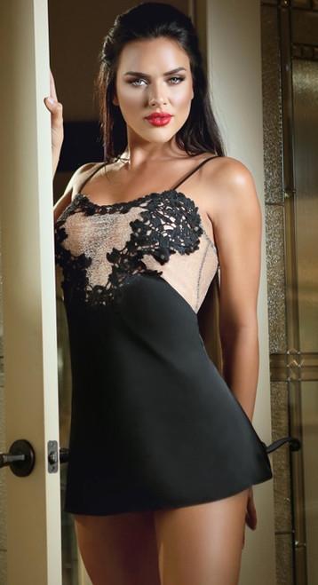 Black Satin Doll Slip Dress and G-string