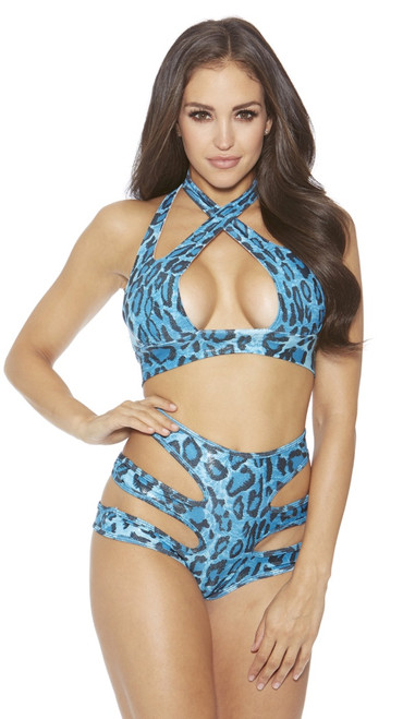 Turquoise Leopard Top and High Waist Panty