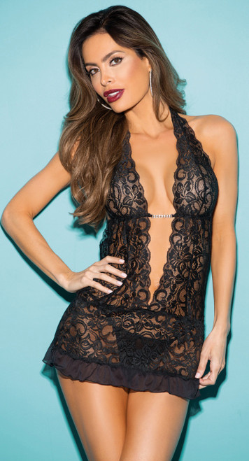 Gorgeous Black Lace Chemise Set