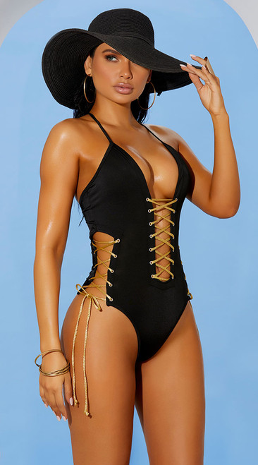 Black Lace Up Monokini