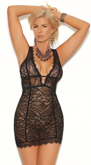 Plus Size Black Lace Empire Waist Chemise