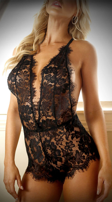Lush Life Lace Plunging Romper