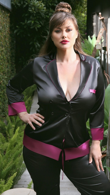 Plus Size Marjorie Contrast Cuff Satin Blazer Jacket