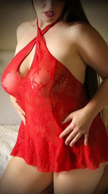 Plus Size Hot Blooded Lace Chemise Set
