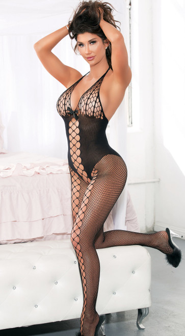 Gorgeous Black Bodystocking with Lattice Detail