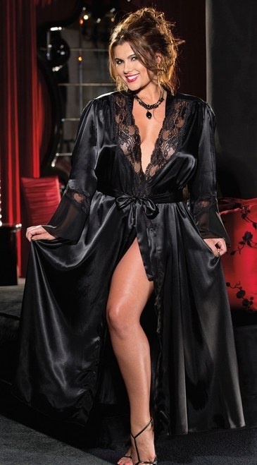 Plus Size Elegant and Sexy Long Black Robe