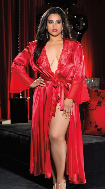 Plus Size Elegant and Sexy Long Red Robe