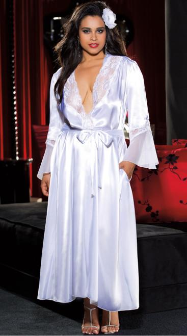 Plus Size Elegant and Sexy Long White Robe