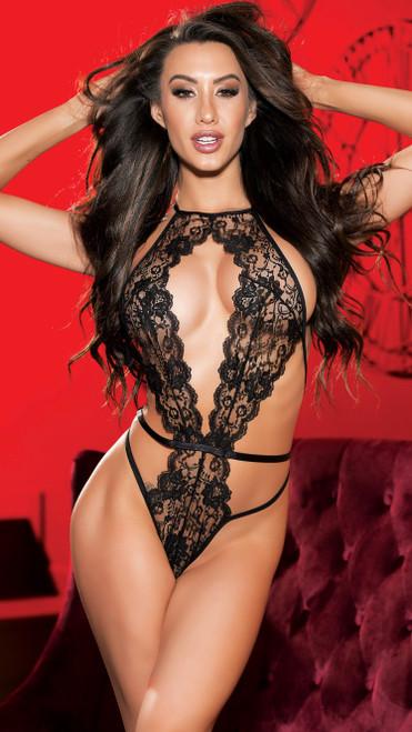 Sexy Black Lace Strappy Teddy