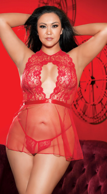 Plus Size Red Lace and Net Babydoll Set